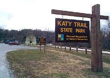 Katy Trail State Park entrance sign: Rocheport Missouri